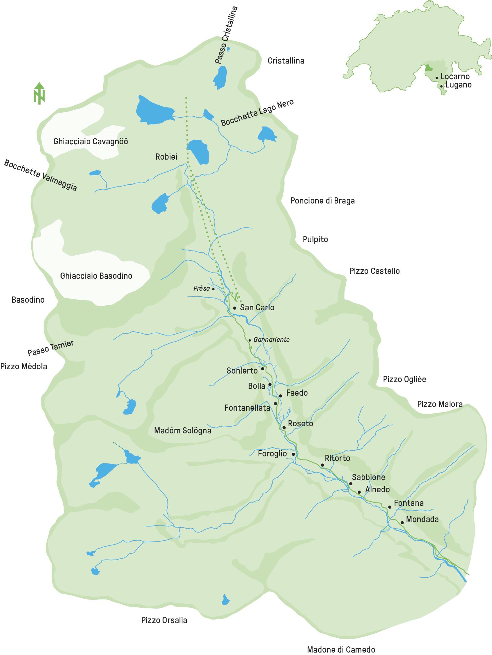 Cartina Geografica Canton Ticino Svizzera.Fondazione Valle Bavona Mappa Del Territorio